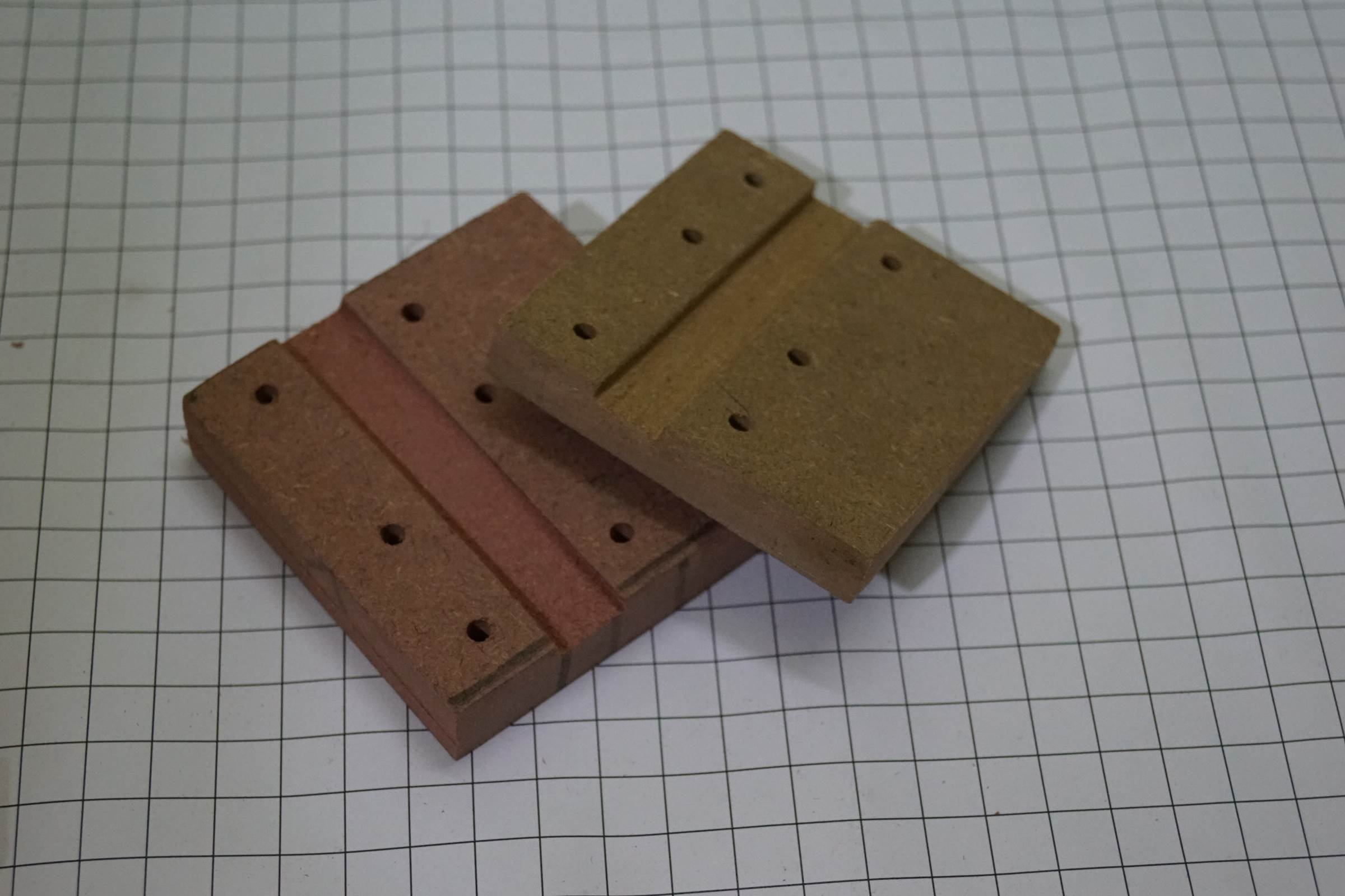 X-Axis End Plates with a depression to support the LM10UU Linear Bearing of Y-Axis
