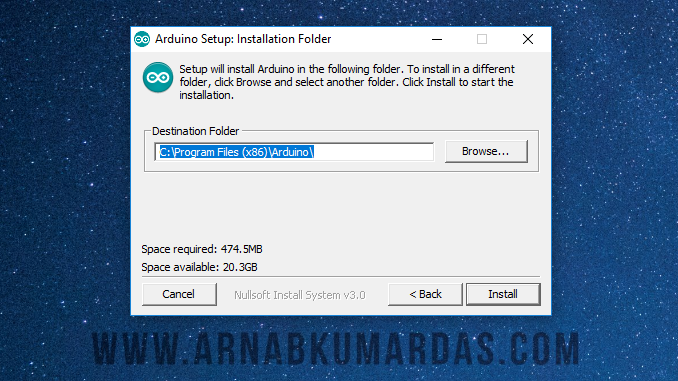 Folder Selection Arduino Installation