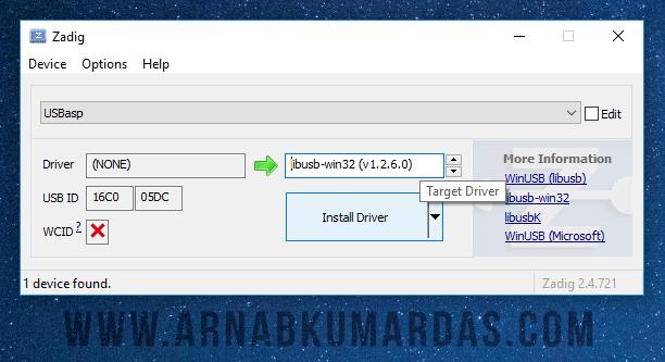 Zadig USBasp Installation