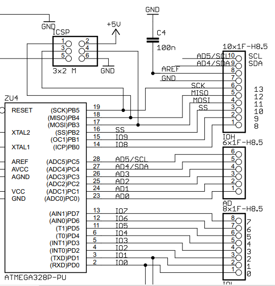 Arduino UNO Schematics Port Pin Mapping