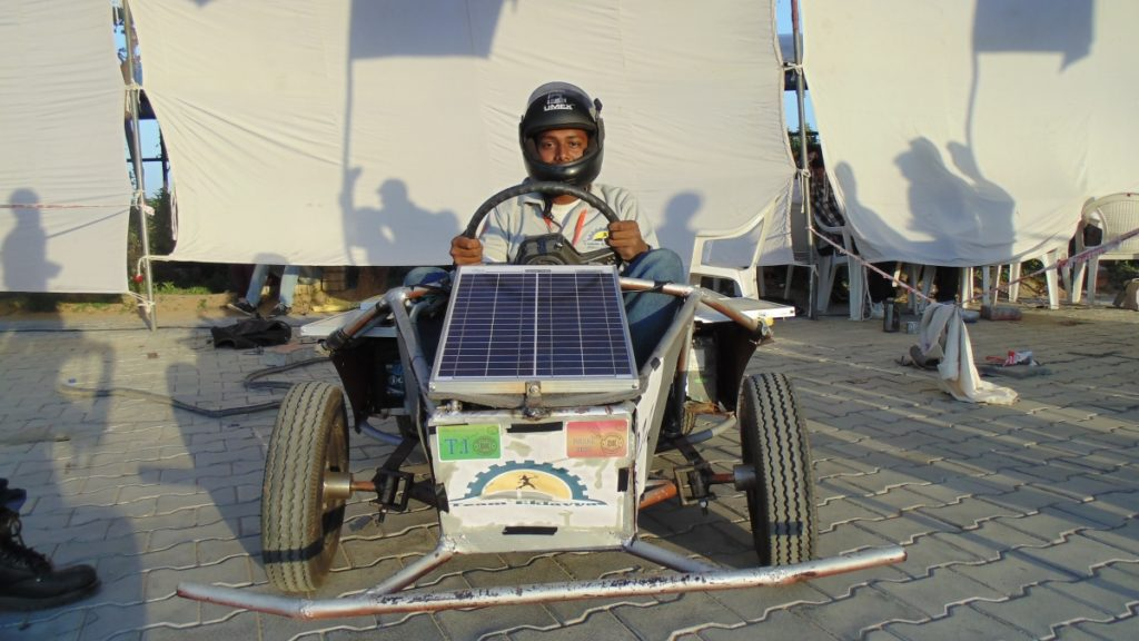 Arnab or Crazy Engineer trying to pose on the Solar Go-Kart