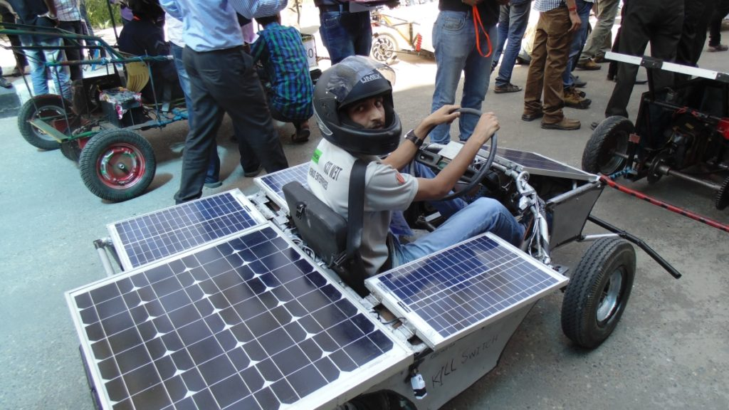Solar Go-kart Team mate ready to drive the Solar Go-Kart in FInal Round