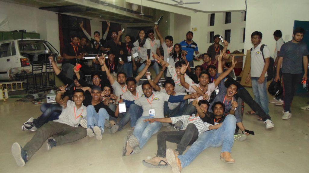 Our Maker Lab Teams Celebrating after Solar Go-kart competition