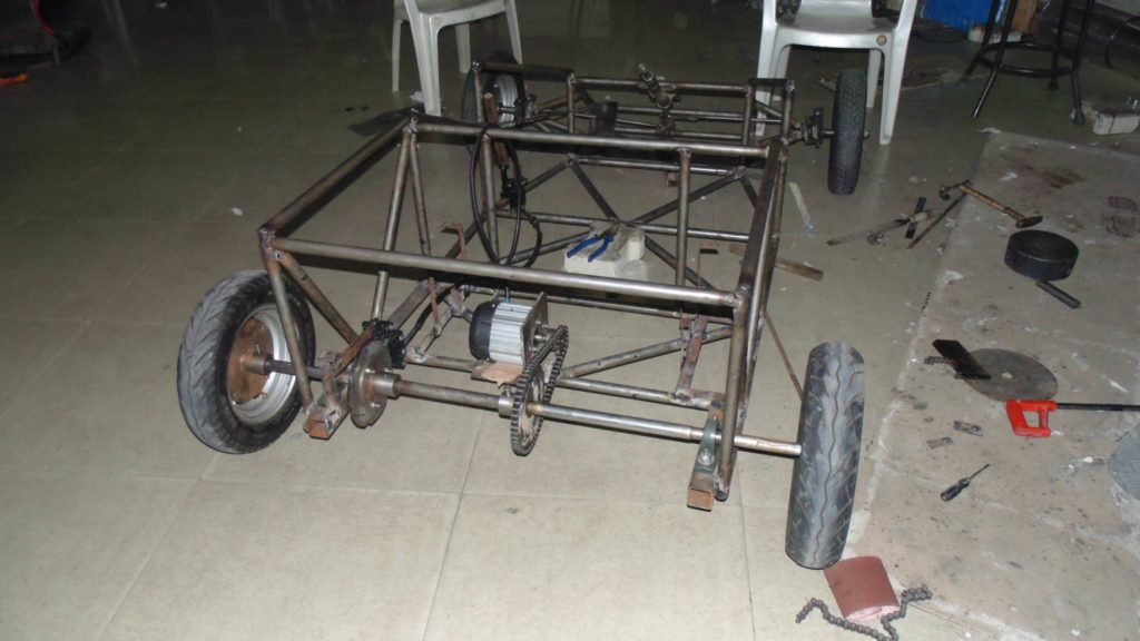 Solar Go-Kart Chassis with the BLDC Motor Mounted