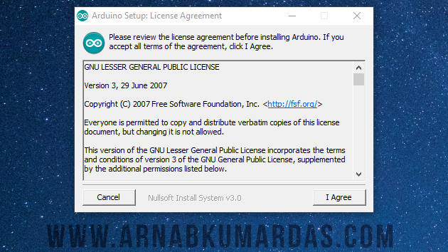 License Agreement of Arduino IDE