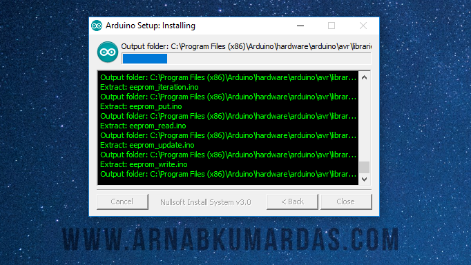 Installation Progress Arduino