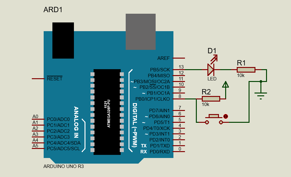 Push Button Interfacing Arduino UNO - AVR Programming - External Pull Up
