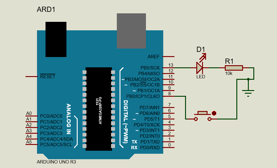 Push Button Interfacing Arduino UNO - AVR Programming - Internal Pull Up