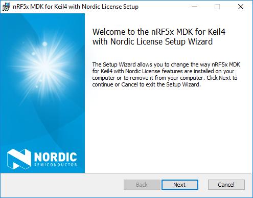 nRF5x MDK Nordic Licence Setup Wizard