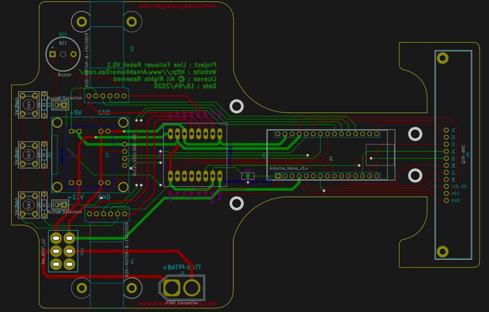 PCB Layout Line Follower Robot v0.1