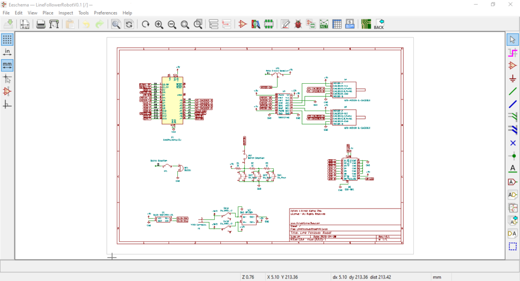 Eeschema View with Line Follower Robot Schematic