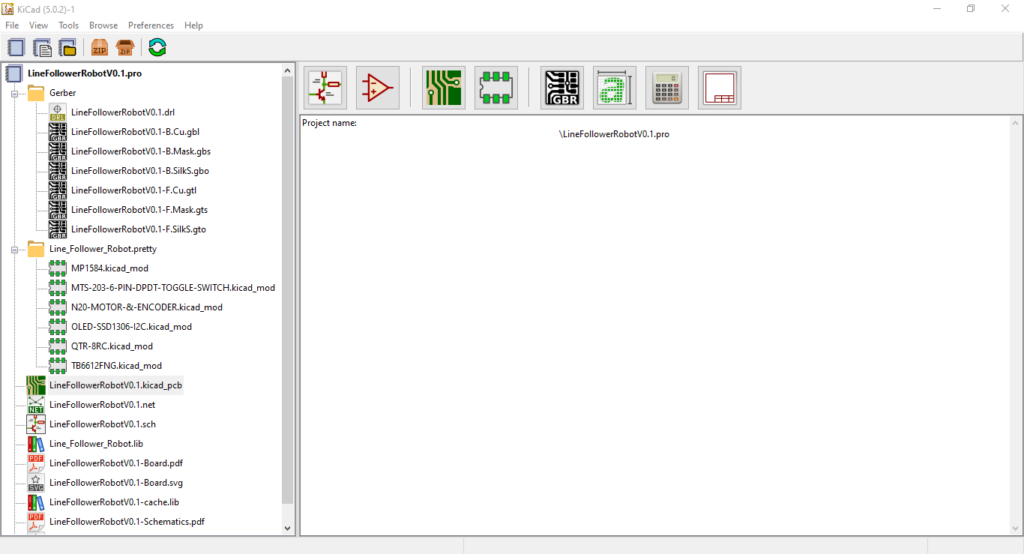 KiCad Project Manager Window