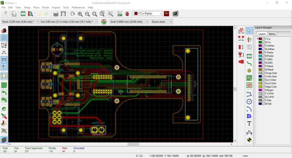 PCB Layout Editor in KiCad with Line Follower Robot Design