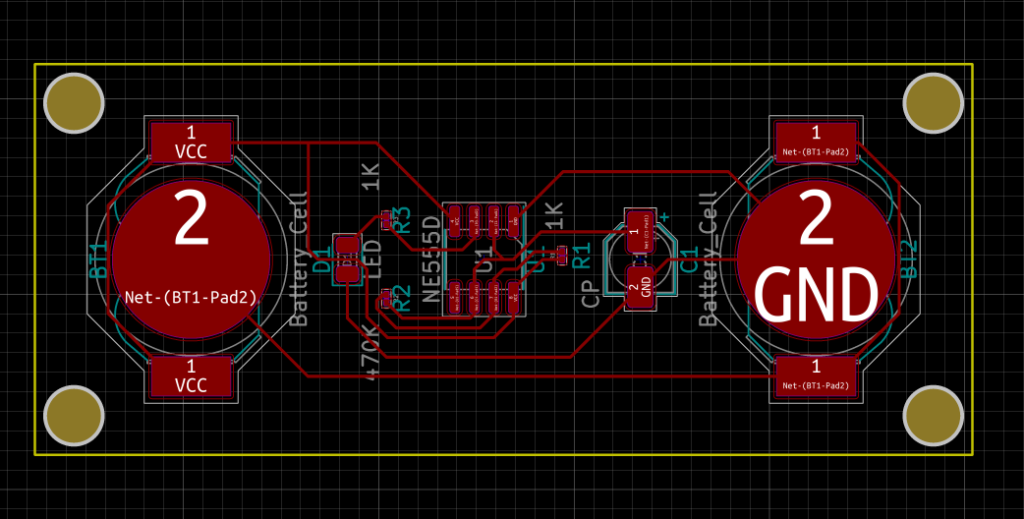 PCB Layout of 555 Timer LED Flasher