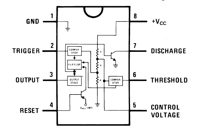 555 Timer IC Pin Out