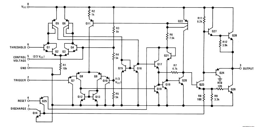 555 Timer IC Internal Schematic