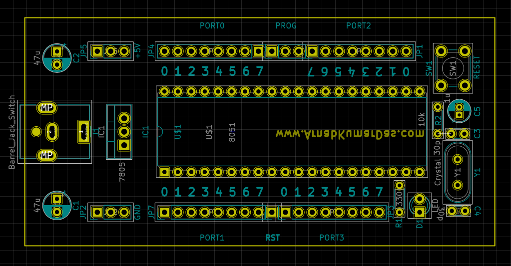 PCB layout of 8051 / AT89C51 Development Board