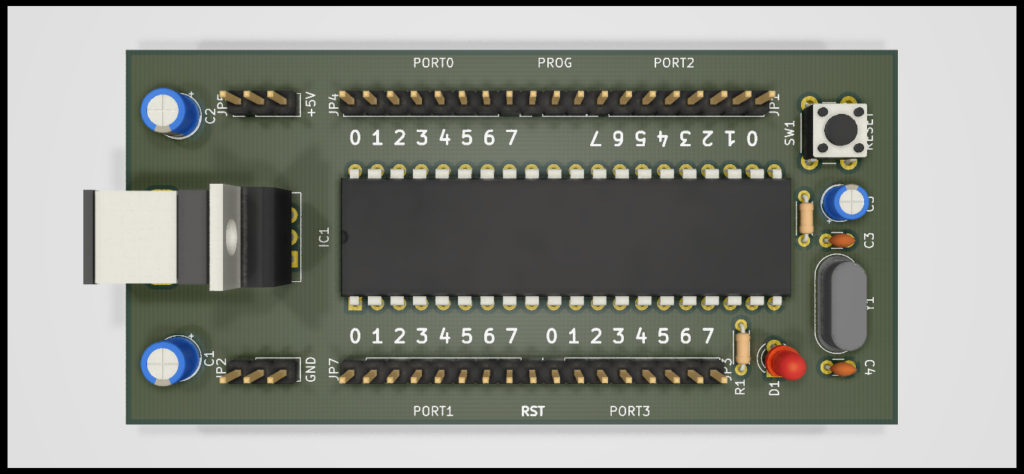 3D Raytrace Render of 8051 / AT89C51 Development Board