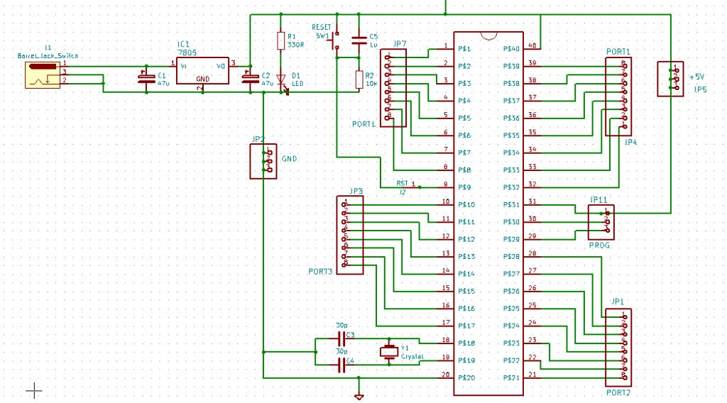 Schematic of 8051 / AT89C51 Development Board