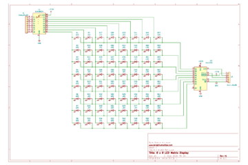 8x8 LED Matrix Display Schematic 74HC595 ULN2803A