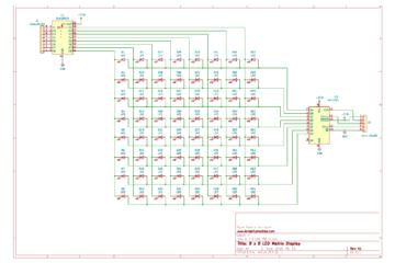 8x8 LED Matrix Display Schematic 74HC595 ULN2803A