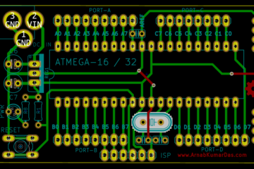 PCB layout of Atmega 16-32 Development Board