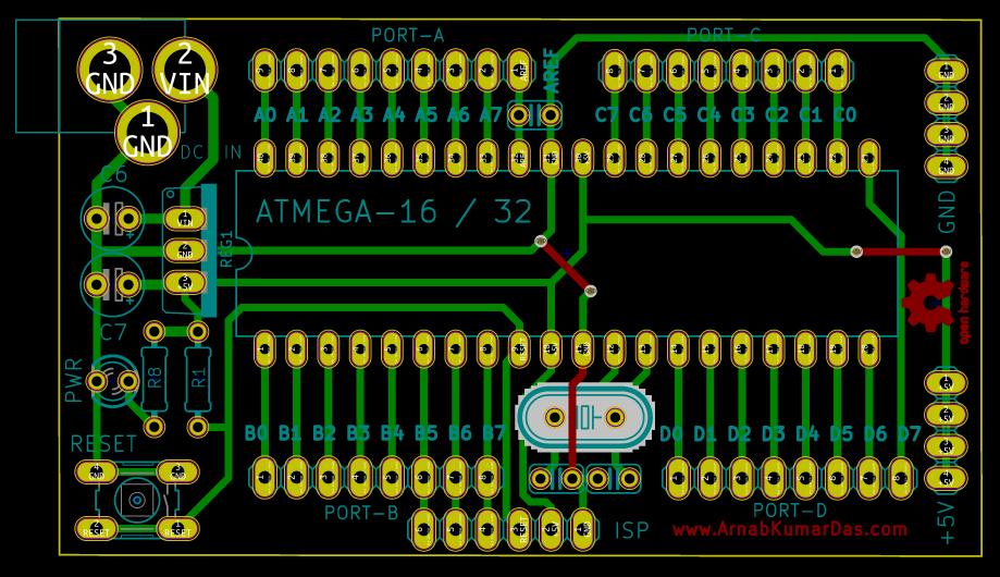 PCB layout of Atmega 16-32 Development Board