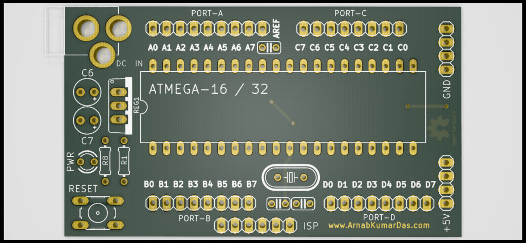 Ray Tracing Render of Atmega 16-32 Development Board