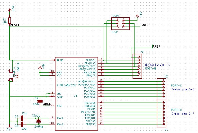 Microcontroller Section of DIY Arduino UNO v1.0