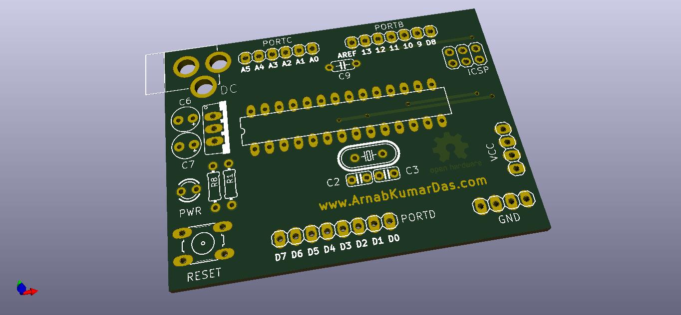 OpenGL Rendering of DIY Arduino UNO v1.0 in KiCad