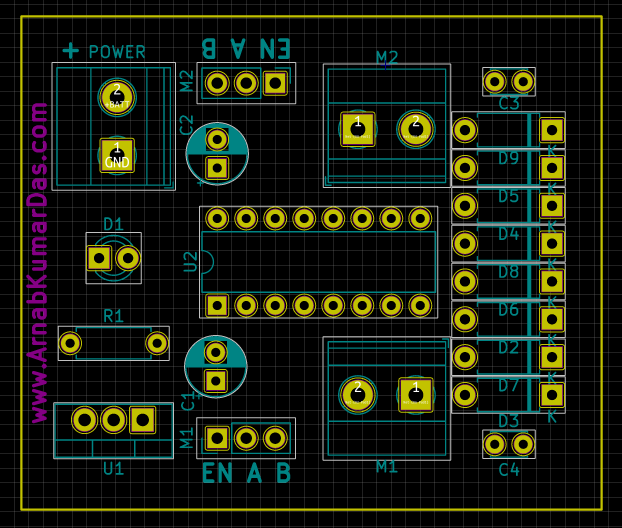 PCB layout of L298D Motor Driver Board