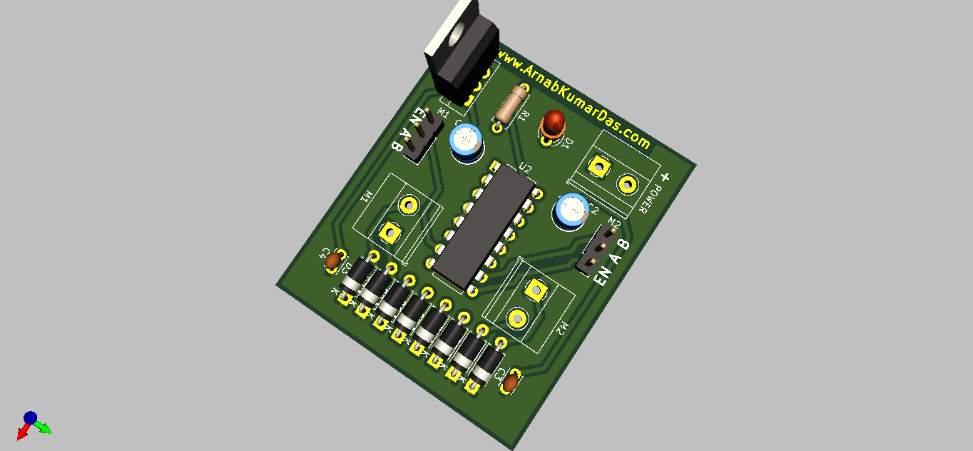 3D Render of L293D Motor Driver Module