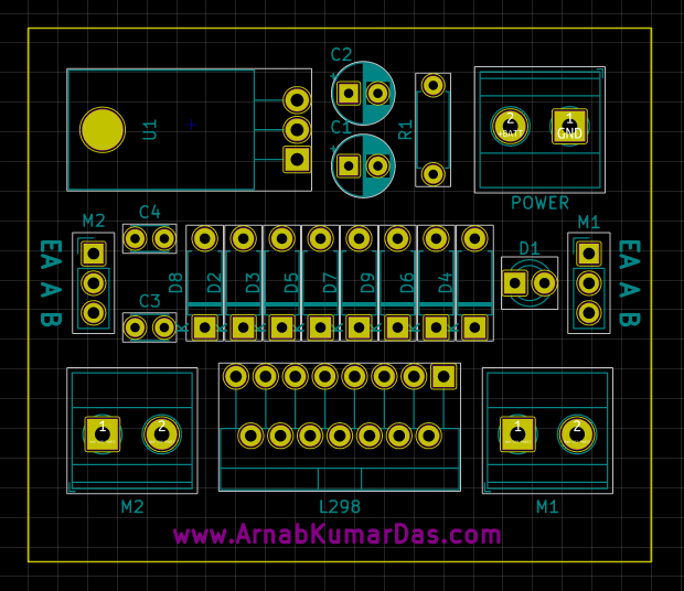 PCB layout of L298 Motor Driver Module