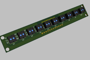 3D Render of Reflectance Sensor Array for Line Follower Robot PCB