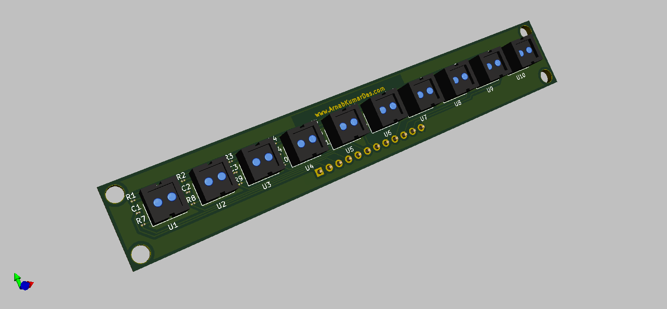 3D Render of Reflectance Sensor Array for Line Follower Robot PCB