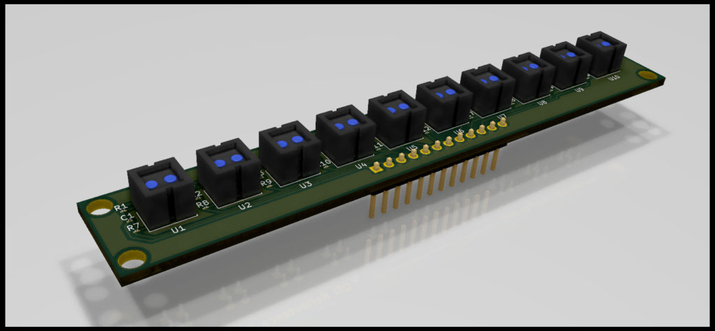 Raytrace 3D Render of Reflectance Sensor Array for Line Follower Robot PCB