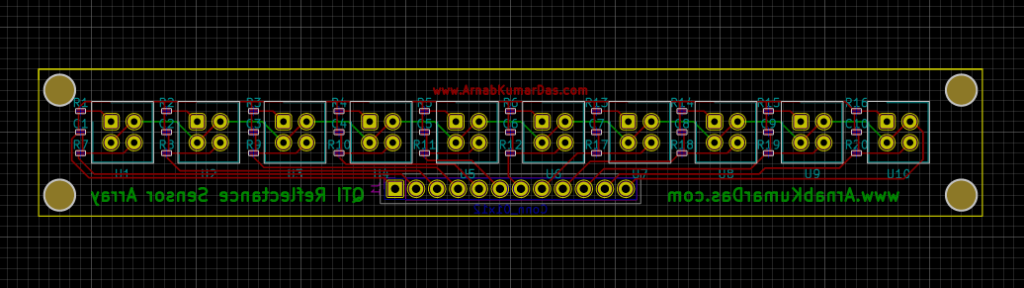 Reflectance Sensor Array for Line Follower Robot PCB Layout