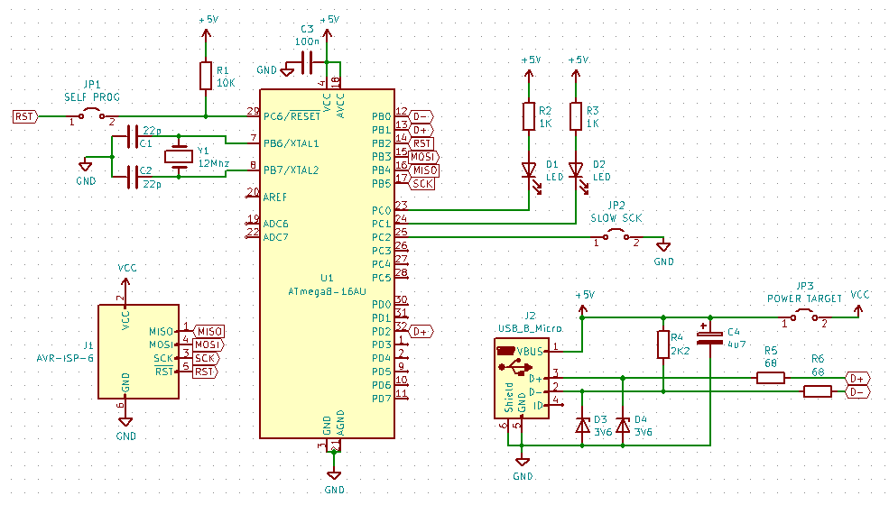 USBasp : In-Circuit Programmer for Atmel AVR MCU PCB Schematic