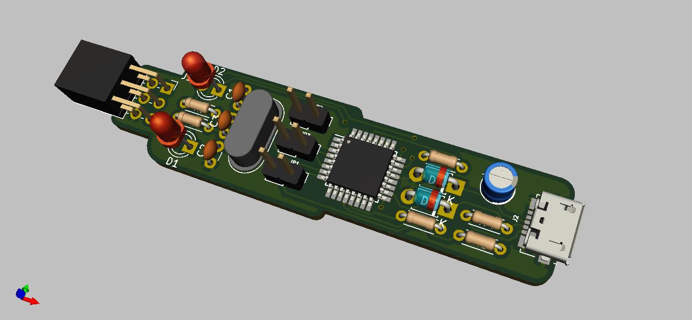3D Render of USBasp In-Circuit Programmer for Atmel AVR MCU