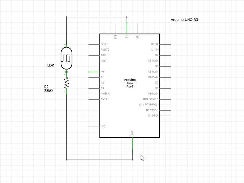 Schematic of LDR / Light Sensor Interfacing with Arduino