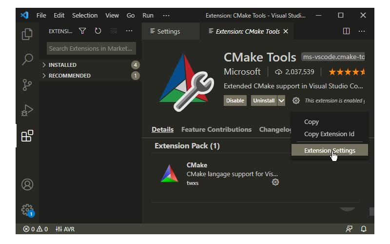 CMake Tools Extension Settings in Visual Studio Code
