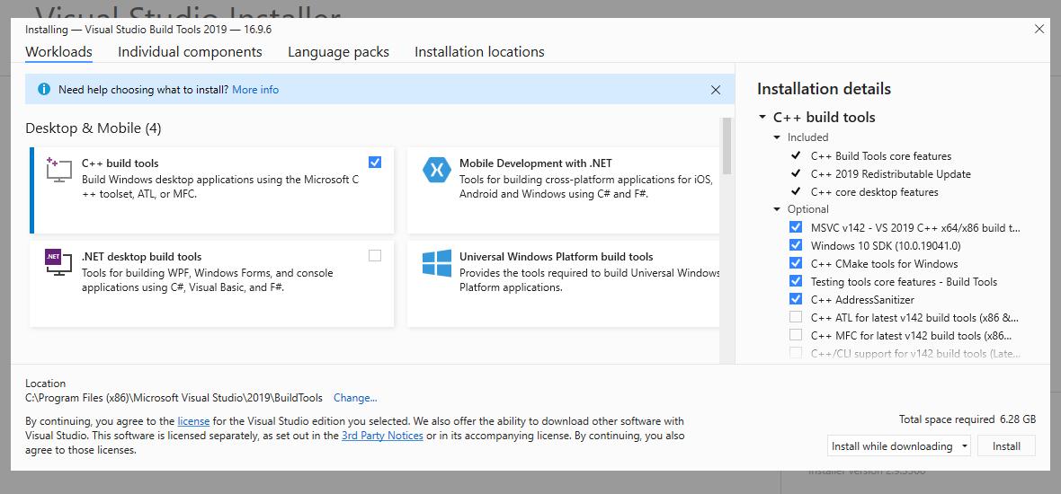 Step 4 : Installing Build Tools for Visual Studio 2019