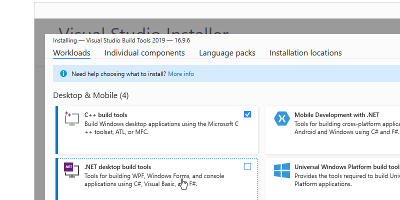 Step 3 : Installing Build Tools for Visual Studio 2019