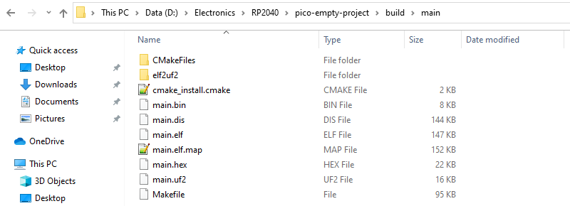 Raspberry Pi Pico C/C++ Build Artifacts
