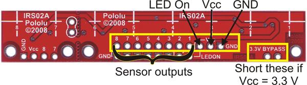 Pololu QTR-8RC Line Sensor PinOut