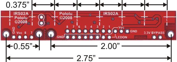 Pololu QTR-8RC Line Sensor Dimension