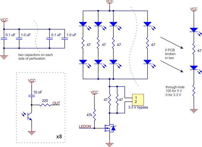 Pololu QTR-8RC Line Sensor Schematic