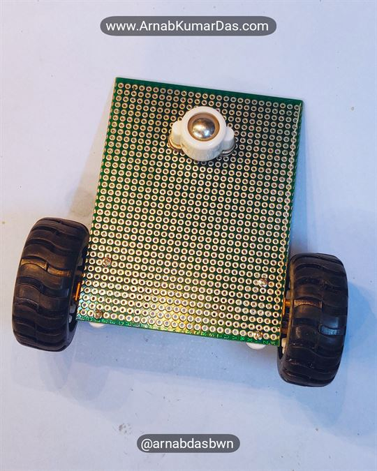 Arduino Line Follower Robot V1 Mounting Caster Wheel to Zero PCB / Perf Board Chassis
