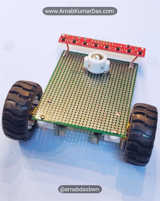Arduino Line Follower Robot V1 Mounting QTR-8RC Sensor to Zero PCB / Perf Board Chassis