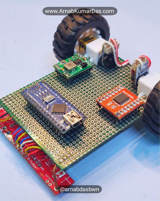 Arduino Line Follower Robot V1 Mounting Electronics to Zero PCB / Perf Board Chassis